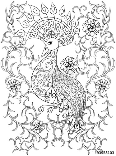 373x500 Coloring Page With Bird In Flowers, Zentangle Illustartion Bird