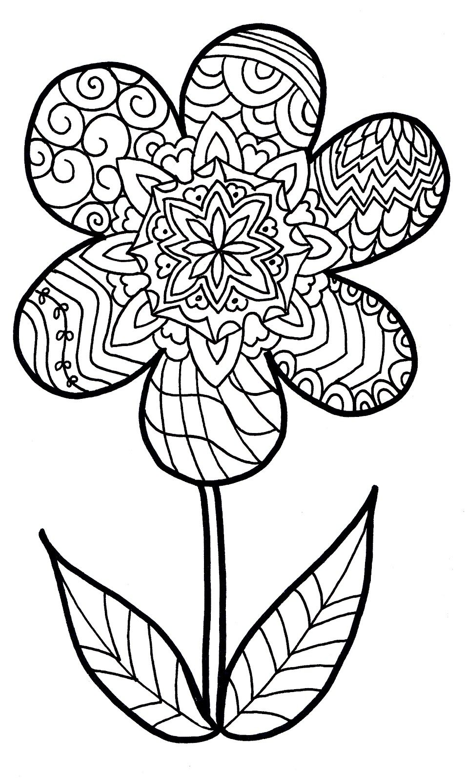957x1600 Flower Zentangle Colouring Page Coloring Pages