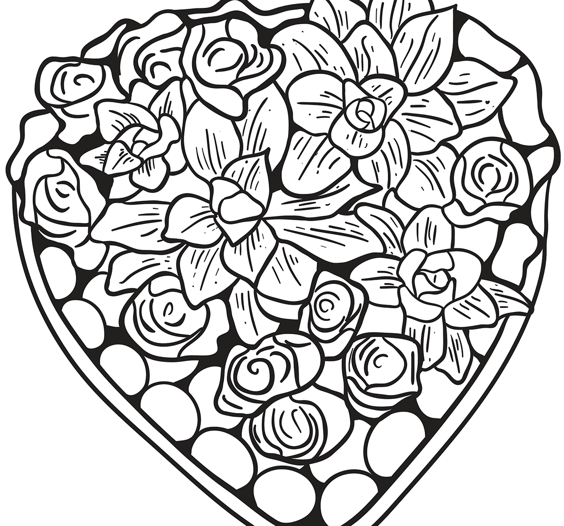 1159x1080 Marvelous Coloring Pages Heart For Kids Book Of Roses And Hearts