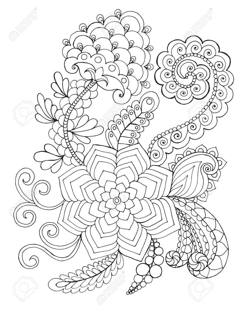 1040x1300 Stunning Fantasy Coloring Page Hand Drawn Doodle Floral Patterned