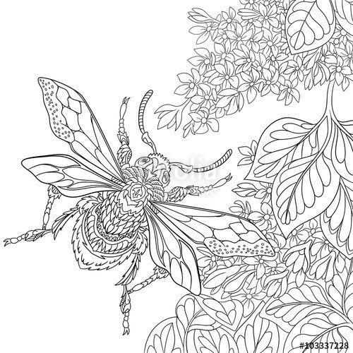 500x500 Vector Zentangle Stylized Cartoon Beetle Insect Flying Around