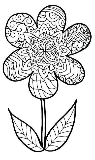 383x640 Zentangle Flower Coloring Page