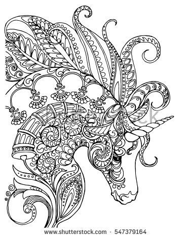 377x470 Elegant Zentangle Patterned Unicorn, Doodle Page For Adult