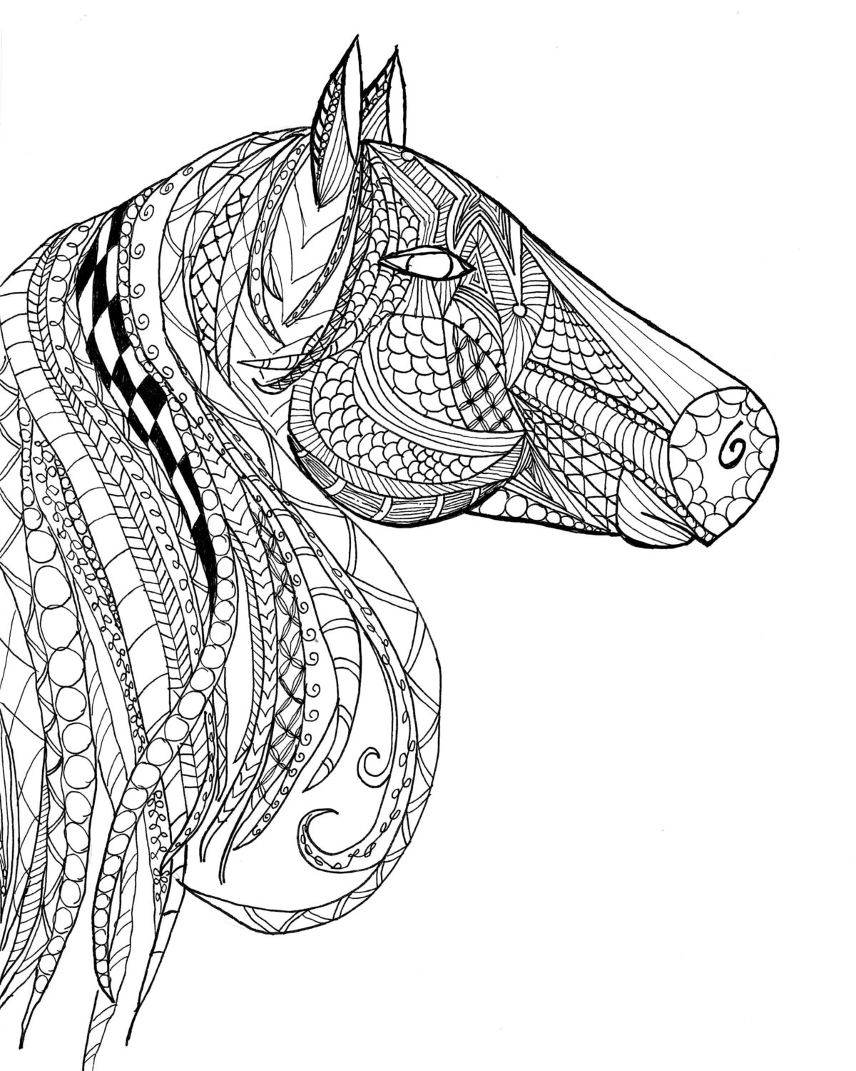 1200x1500 Horse Head Zentangle Adult Coloring Page