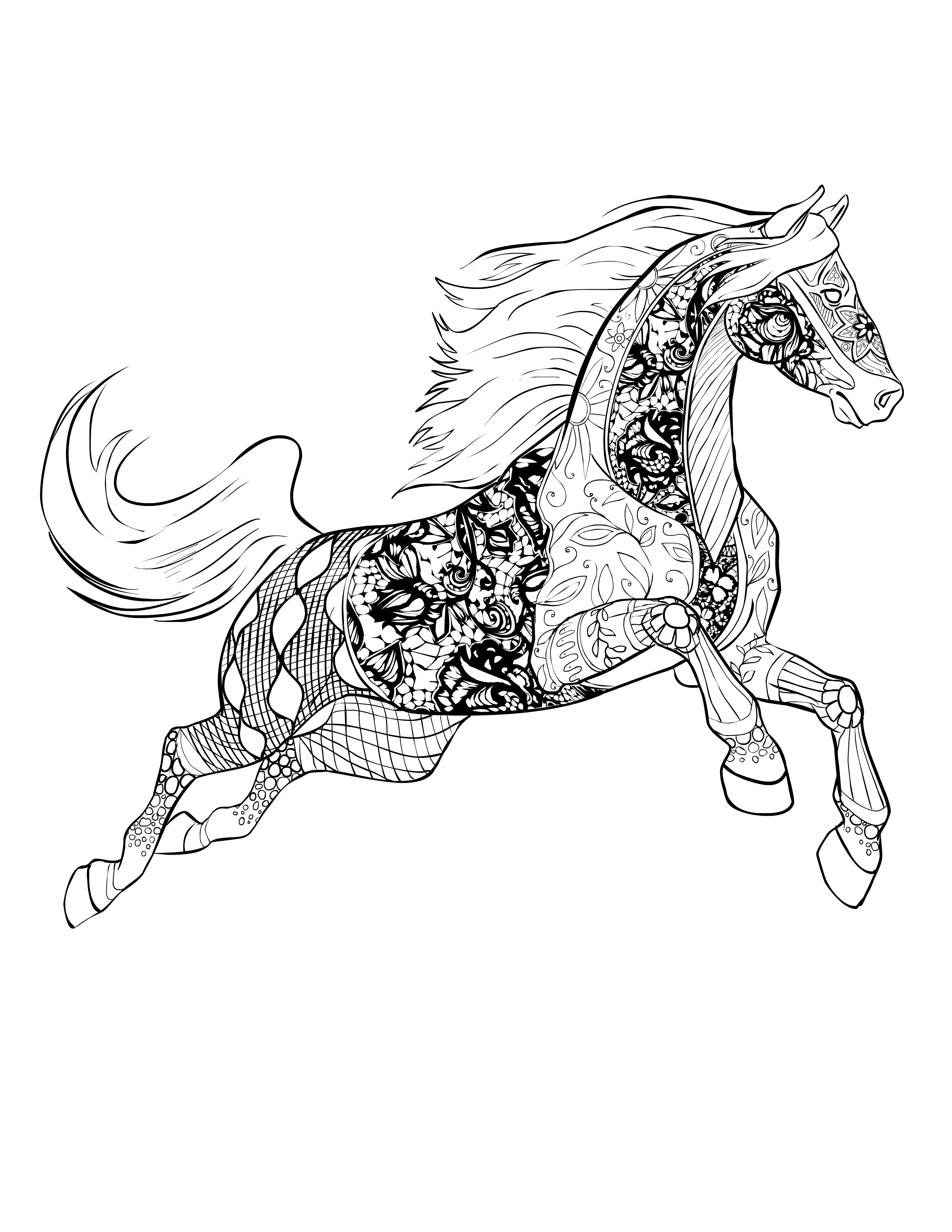 Zentangle Horse Coloring Pages At Getdrawings Com Free For