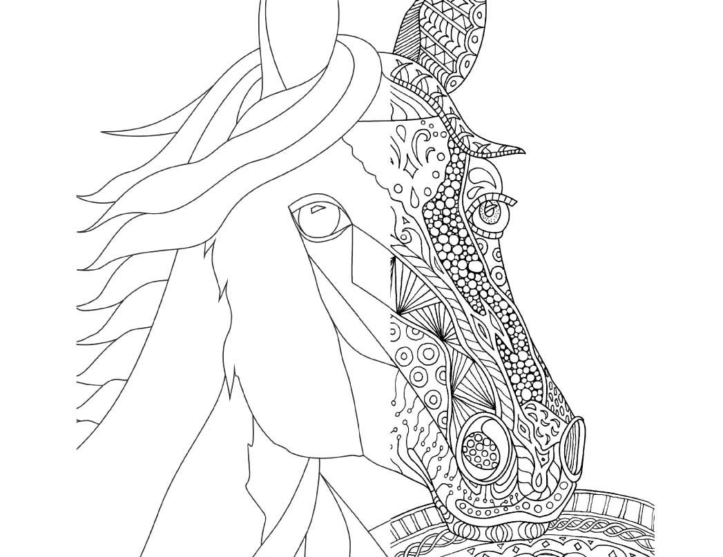 1047x807 Zentangle Horse Coloring Page For Adults, Plus Bonus Easy Horse