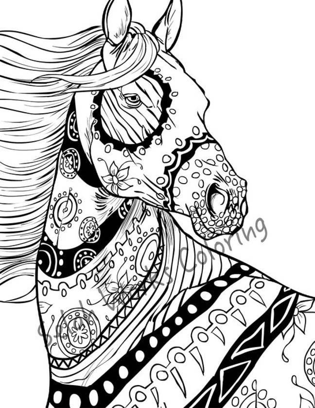 648x840 Zentangle Horse Adults Coloring Pages