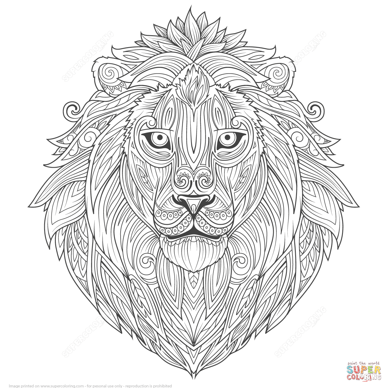 1300x1300 Lion Ethnic Zentangle Coloring Page Free Printable Pages Inside