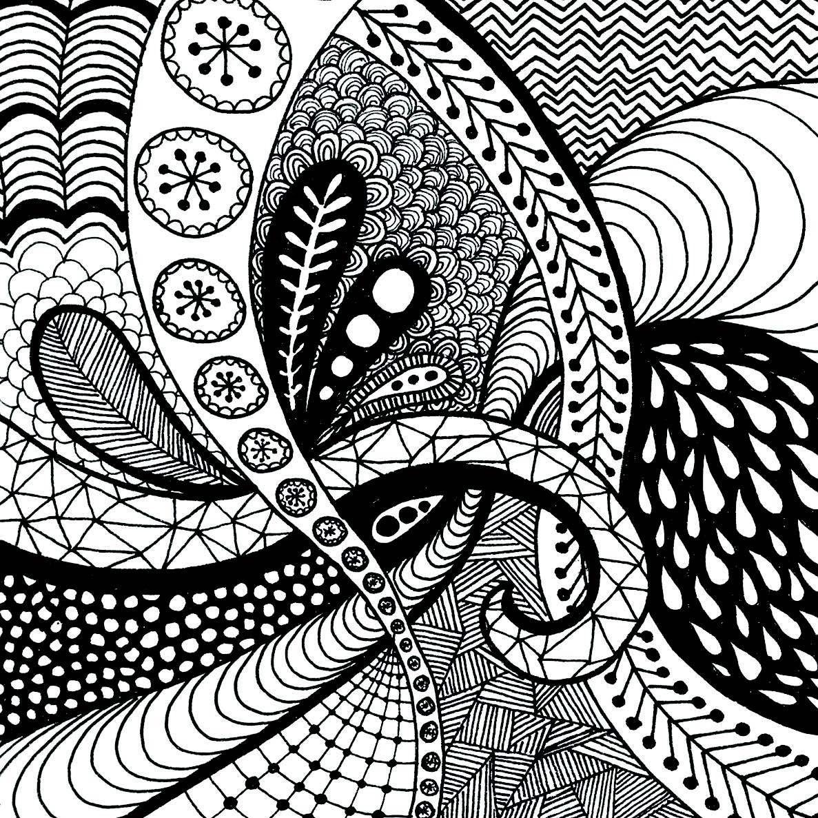 1187x1187 Stunning Zentangle Patterns Coloring Pages Colouring Of Flower