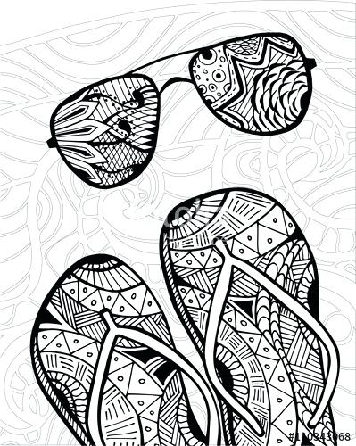 399x500 Zentangle Patterns Coloring Pages Flip Flops At The Beach Coloring