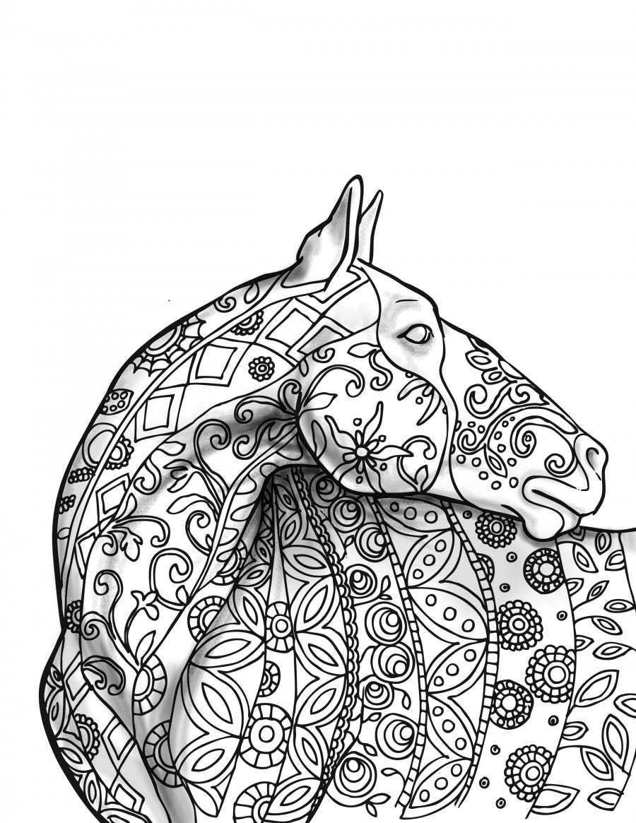 900x1165 Coloring Horse Simple Zentangle Patterns For Pages Adults