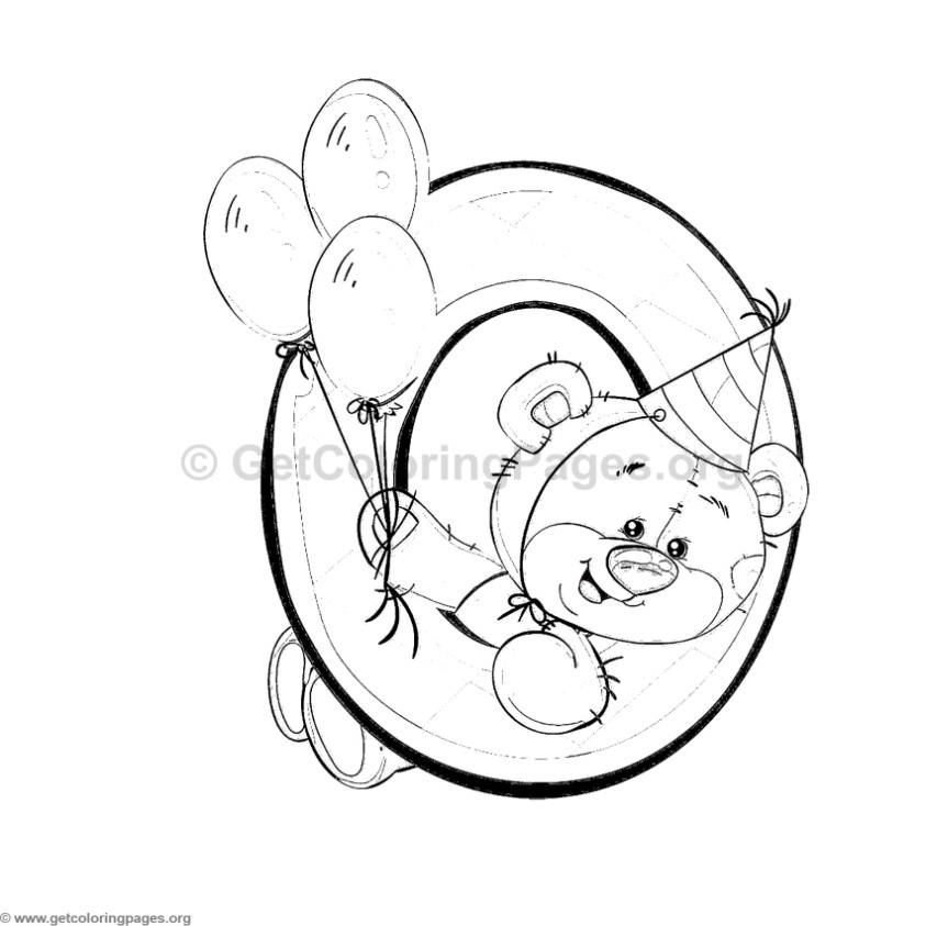 843x843 Teddy Bear Number Zero Coloring Pages