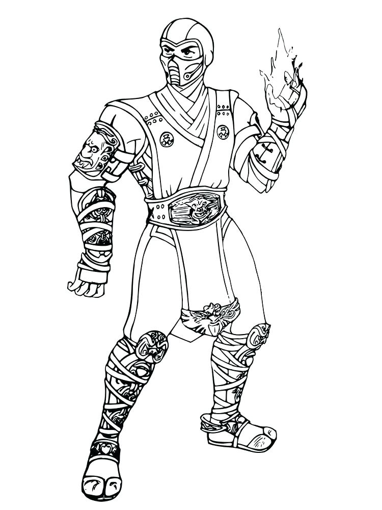 750x1000 Coloring Pages Coloring Pages Mortal Sub Zero Coloring