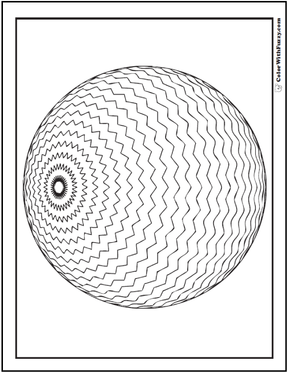 590x762 Geometric Pattern Coloring Page Zigzag Sphere