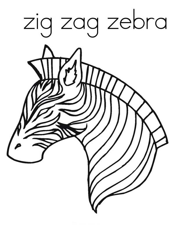 600x776 Awesome Zig Zag Zebra Coloring Page