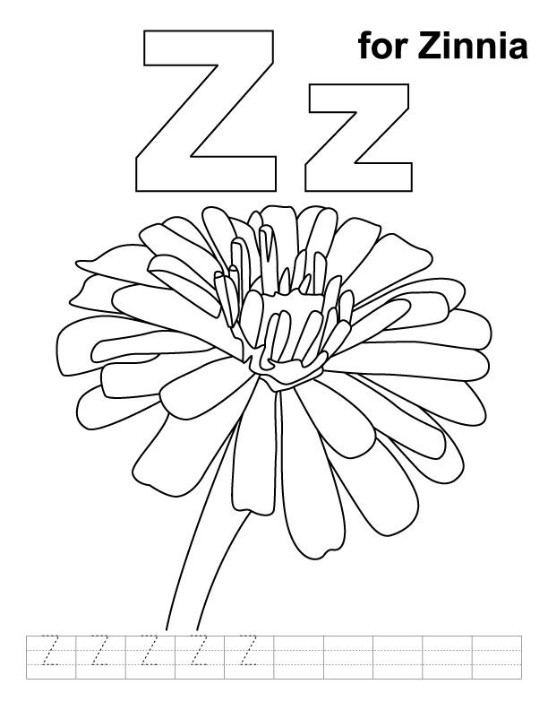 612x792 Z For Zinnia Coloring Page With Handwriting Practice Letters Y