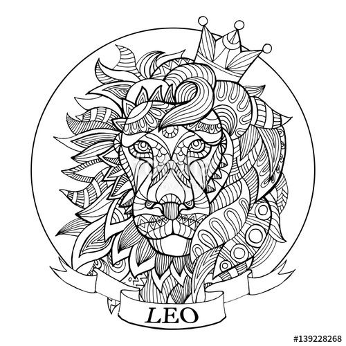 500x500 Leo Zodiac Sign Coloring Page For Adults Fotolia