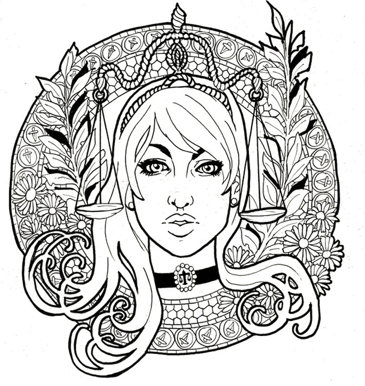 709x750 Adult Coloring Page Astrology Libra