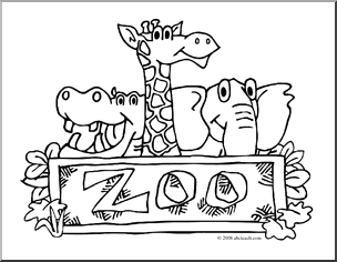 304x236 Clip Art Zoo Graphic Coloring Page Preview Heather Zoo Animals