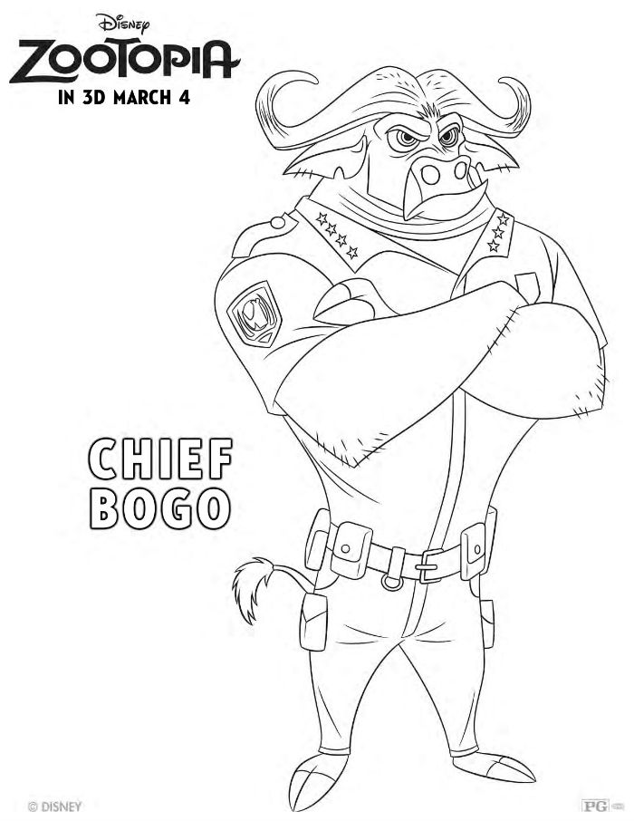 700x906 Free Disney Zootopia Chief Bogo Coloring Page Coloring Pages