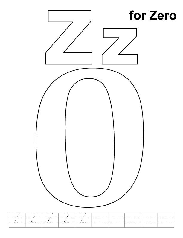 612x792 Z For Zero Coloring Page With Handwriting Practice Download Free