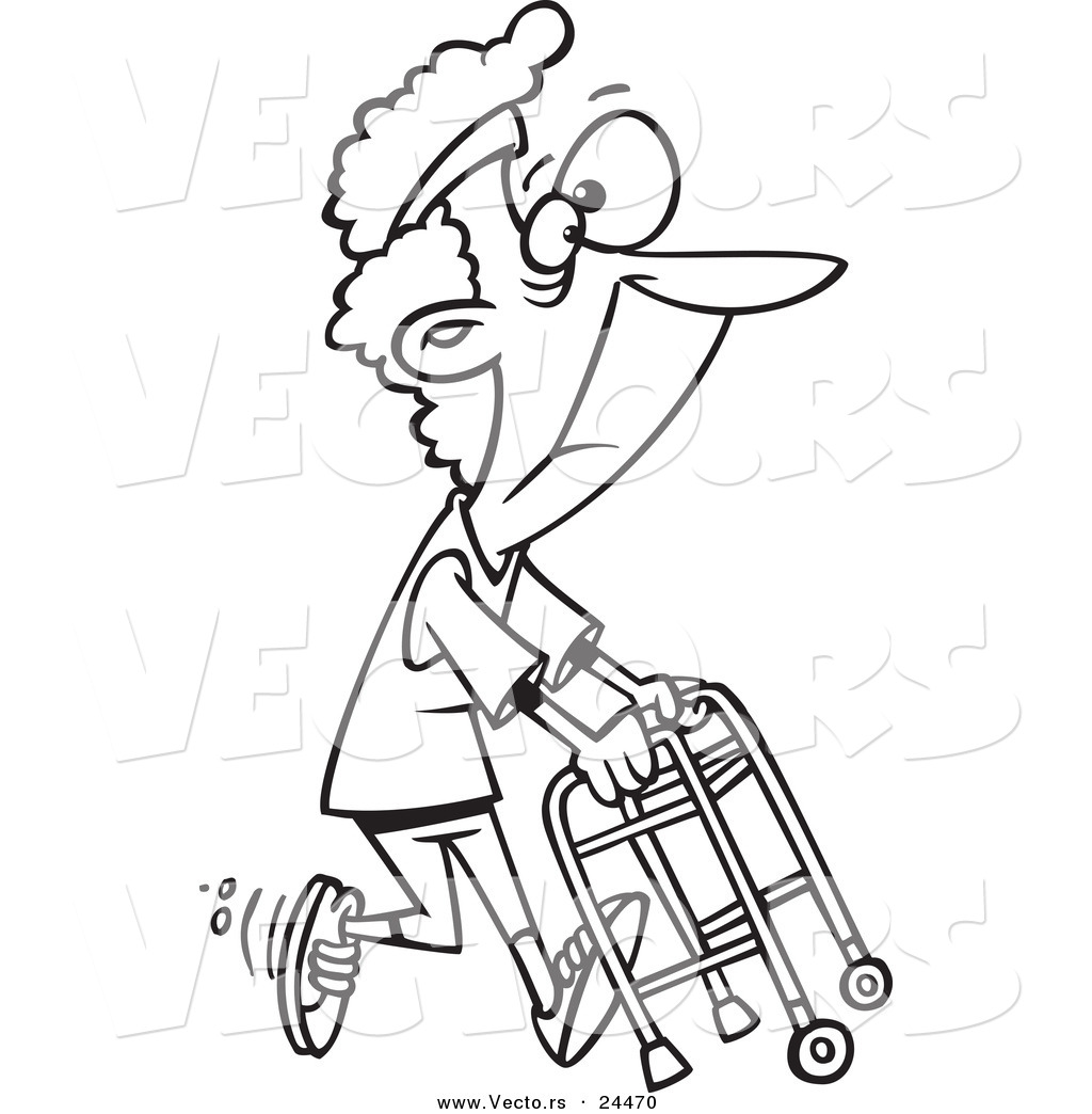 1024x1044 Vector Of A Cartoon Healthy Granny Exercising With Her Walker