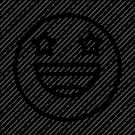 Emoji, Emoticon, Face, Portrait, Smile, Star Icon