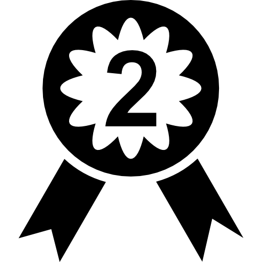Medal With Number Two Icons Free Download