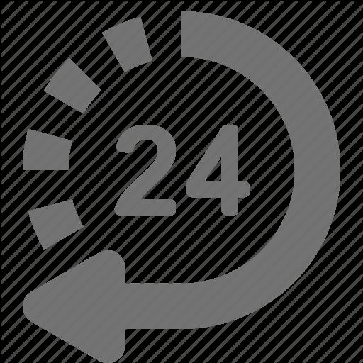 Arrow, Customer Support, Hour, Non Stop, Return, Service Icon