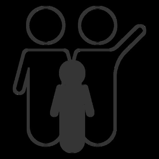 Black And White Family Line Icon