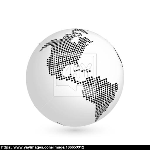 Planet Earth Globe With Black Squared Map Of Continent America