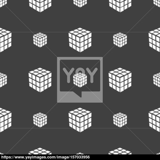 A Three Sided Cube Puzzle Box In Icon Sign Seamless Pattern