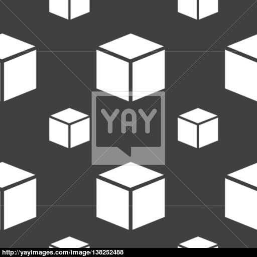 Cube Icon Sign Seamless Pattern On A Gray Background Vector
