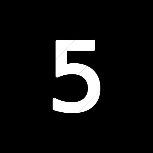 Flat Circle White On Black Alphanumerics Number Icon