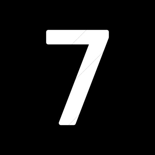 Flat Rounded Square White On Black Alphanumerics Number