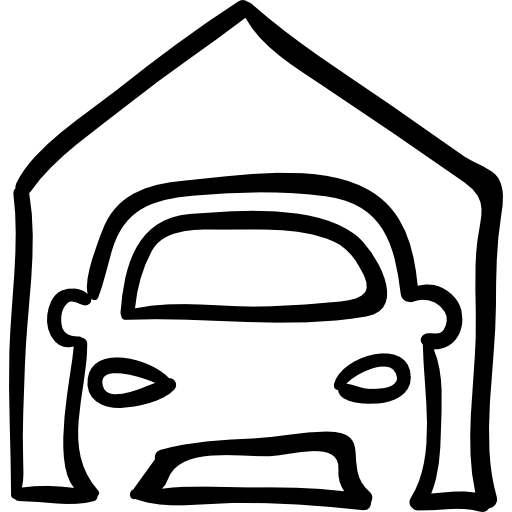 Car Outline In Garage Icons Free Download
