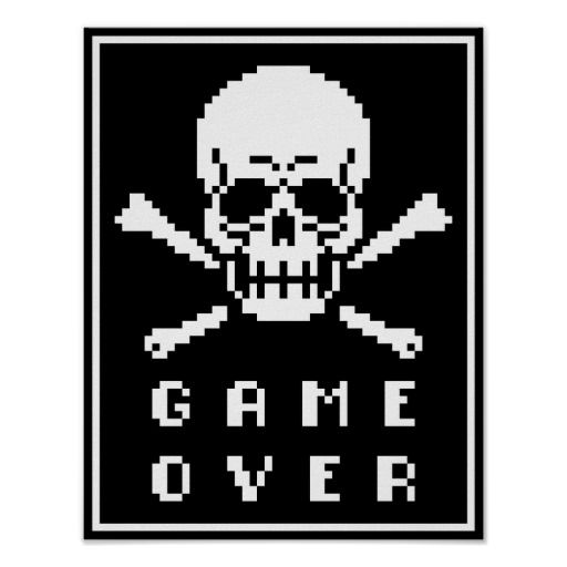 Game Over Bit Skull Crossbones Pixel Art Poster