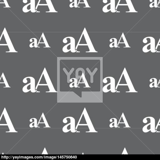 Enlarge Font, Aa Icon Sign Seamless Pattern On A Gray Background