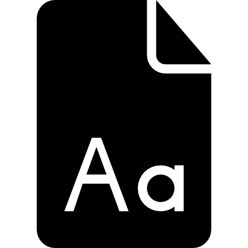 Font Document Black Interface Symbol Of Paper Sheet With Letters