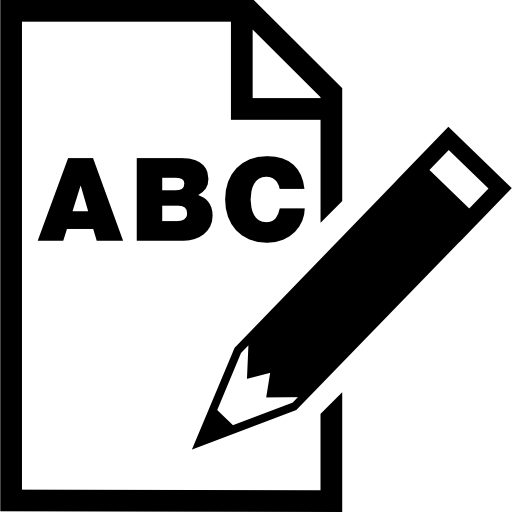 Abc Letters On Paper Sheet With A Pencil Interface Symbol Icons