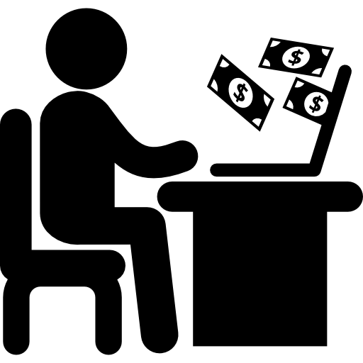 Businessman Working Online With A Laptop Icons Free Download