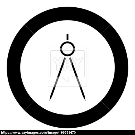 Pair Of Compasses Icon Black Color In Circle Or Round Vector