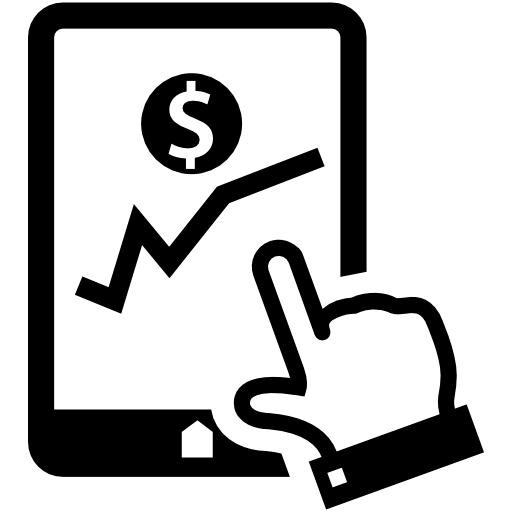 Financial Graphic Of Stocks On Tablet Screen Free Vector Icons