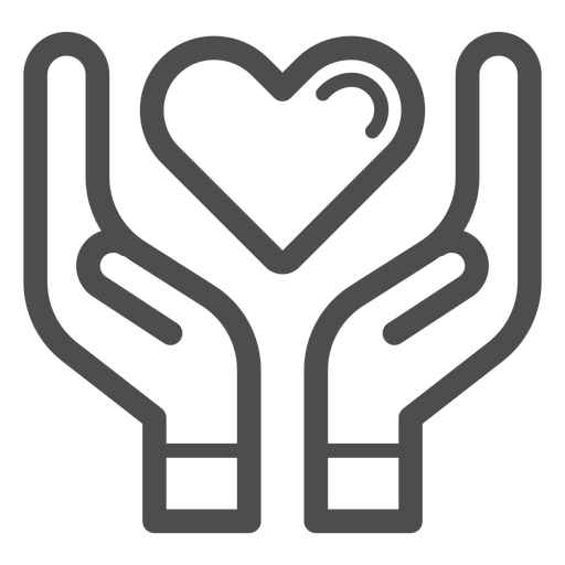 Hands Holding Heart Stroke Icon