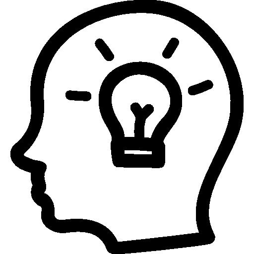 Idea Hand Drawn Symbol Of A Side Head With A Lightbulb Inside