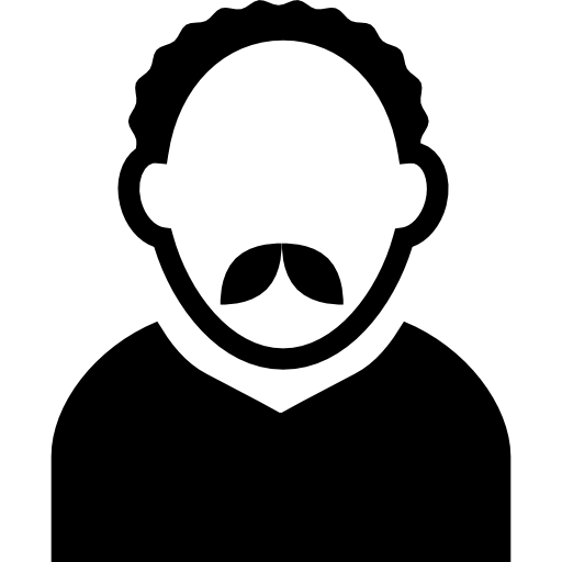 Adult Man Avatar With Short Curly Hair And Mustache
