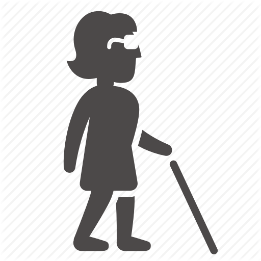 Adult, Blind, Cane, Disabled, Health, People, Woman Icon