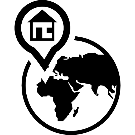 Earth Globe With A House In A Placeholder On Africa Icons Free