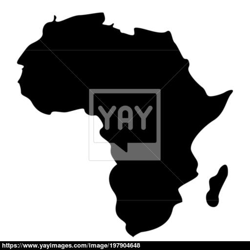 Map Of Africa Icon Black Color Illustration Flat Style Simple