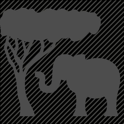 Africa, Animal, Elephant, Safari, Tourism, Tree, Vacation Icon